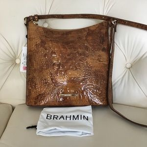 NWT Brahmin Brown Croc Leather Square Bag